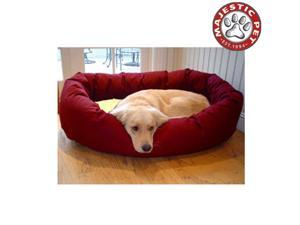 "Majestic Pet Extra Large 52"" Donut Dog Bed (52""x36""x14"") BURGUNDY & SHERPA"