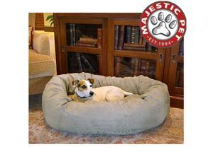 """Majestic Pet Extra Large 52"""" Micro Suede Dog Bagel Bed (52""""x36""""x14""""), Stone"""