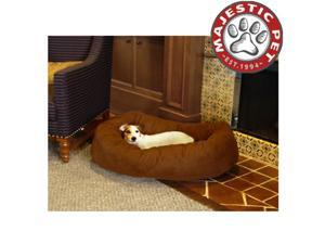 """Majestic Pet Extra Large 52"""" Micro Suede Dog Bagel Bed (52""""x36""""x14""""), Rust"""