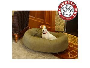 """Majestic Pet Extra Large 52"""" Micro Suede Dog Bagel Bed (52""""x36""""x14""""), Sage"""