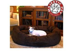 "Majestic Pet Large 40"" Micro Suede Dog Bagel Bed (40""x31""x12"") CHOCOLATE"