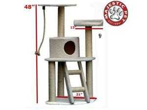 "Majestic Pet 48"" BUNGALOW Cat Tree - Cream White SHERPA"