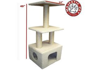 "Majestic Pet 40"" Bungalow Cat Tree - Cream White Sherpa"