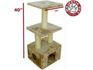 "Majestic Pet 40"" Casita Cat Tree - Honey Brown Fur"