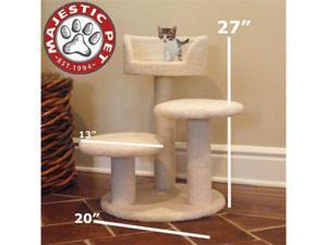 "Majestic Pet 27"" BUNGALOW Cat Tree - Cream White SHERPA - OEM"