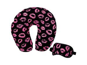 Travel Smart by Conair Black and Pink Lip Printed Neck Rest and Eye Mask Set