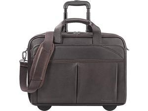 "Rolling Laptop Case 17""x7""x13-1/2"" 15.6"" Sleeve Brown"
