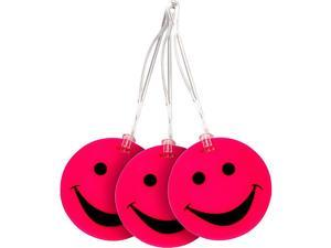 Lewis N. Clark Set of 3 Neon Smiley Face Luggage Tags