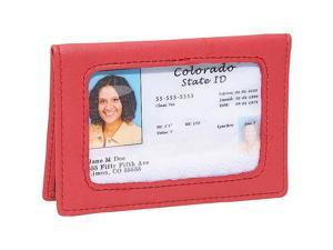 Royce Leather Tri-View ID Holder Card Case, Red - 407-RED-5