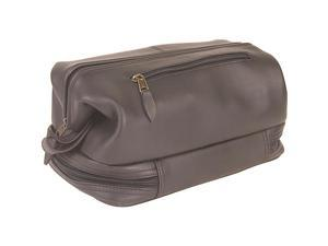 Royce Leather Toiletry Bag with Zippered Bottom Compartment, Black - 260-BLACK-3