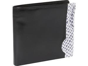 Leatherbay Italian Calf Leather w/ Snake Print Double Fold Wallet