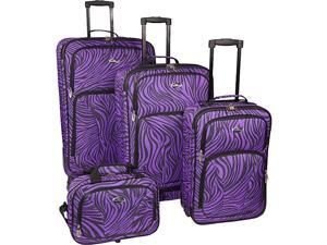 U.S. Traveler Fashion Zebra 4 Piece Spinner Set