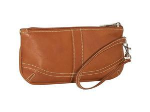 Piel Leather Large Ladies Wristlet, Saddle - 2768