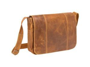 Le Donne Leather Distressed Leather Laptop Messenger