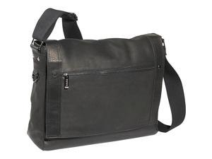 Kenneth Cole Columbian Leather Flapover Messenger Bag Black