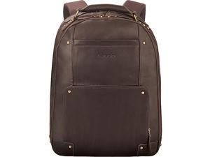 """Laptop Backpack Leather Padded Straps 13""""x7""""x17"""" Brown"""