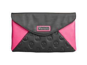 Loungefly Skull Emboss Colorblock Black/Pink Clutch