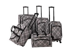 American Flyer Silver Stripes 5-Piece Luggage Set