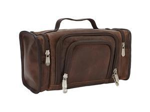 Piel Leather Multi-Compartment Toiletry Kit, Vintage Brown - 3069-BRN