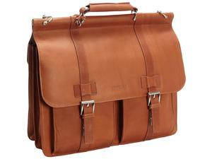 Kenneth Cole Reaction Mind Your Own Business Columbian Leather Dowel Rod Laptop Case - Cognac