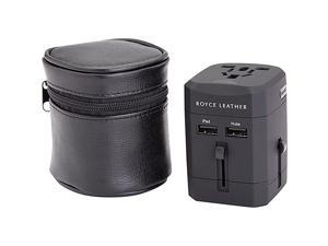 Royce Leather  International Travel Adapter Wall Plug Leather Case