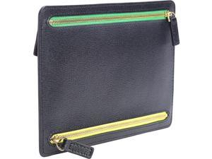 Royce Leather RFID Blocking Zippered Currency and Passport Travel Document Organizer Pouch in Genuine Saffiano Leather