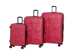 IT Luggage Skull Emboss 3 Piece Spinner Luggage Set