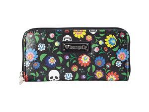 Loungefly Floral & White Skull Print Wallet