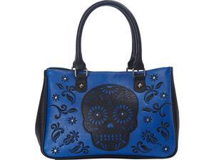 Loungefly Laser Cut Skull Blue Tote