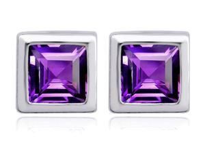 Original Star K(TM) 7mm Square Cut Simulated Amethyst Earrings Studs