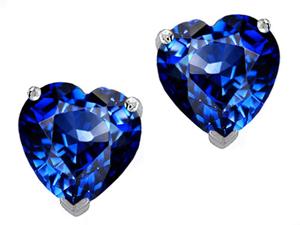 Star K 3.00 CTW Heart Shaped 7mm Created Sapphire Earring Studs