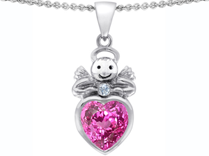 Original Star K(TM) Love Angel Pendant with 10mm Created Pink Sapphire Heart