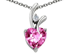 Original Star K(tm) Heart Shaped 8mm Created Pink Sapphire Pendant