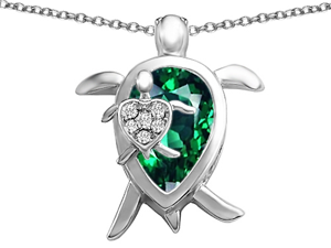 Original Star K(TM) Large Mother and Baby Turtle family Pendant with 12x8mm Pear Shape Simulated Emerald