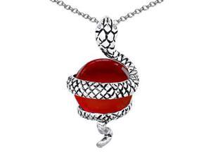Original Star K(TM) Large Snake Pendant with 10mm Simulated Ruby Ball