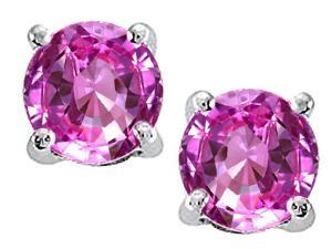 Tommaso Design Round 7mm Created Pink Sapphire Earrings Studs in 14 kt White Gold