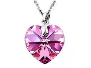 Zoe R Genuine 14mm Fuchsia Pink Crystal Heart Pendant made with Swarovski Elements
