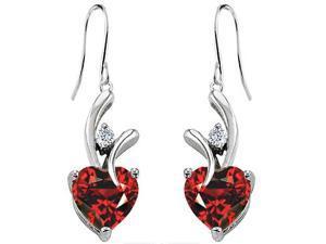 Star K 8mm Heart Shape Simulated Garnet Hanging Hook Love Earrings in Sterling Silver
