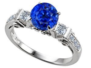 Star K Classic 3 Stone Ring with Round 7mm Created Sapphire in Sterling Silver Size 6