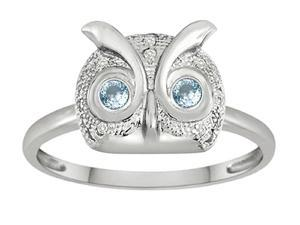 Star K Round Simulated Aquamarine Good Luck Owl Ring in Sterling Silver Size 6