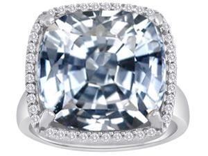 Star K Large Cushion Cut Simulated White Topaz Halo Ring in Sterling Silver Size 6
