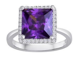 Star K Square Cut Simulated Amethyst Halo Ring in Sterling Silver Size 7
