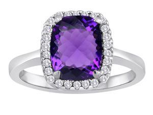Star K Cushion Cut Simulated Amethyst Halo Ring in Sterling Silver Size 7
