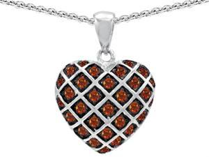 Star K Round Simulated Garnet Puffed Heart Pendant in Sterling Silver