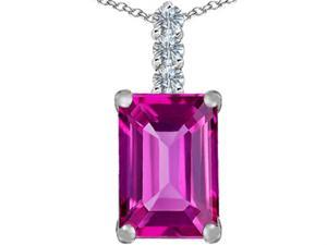 Star K Large 14x10mm Emerald Cut Created Pink Sapphire Pendant in Sterling Silver