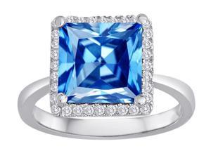 Star K Square Cut Simulated Blue Topaz Halo Ring in Sterling Silver Size 6