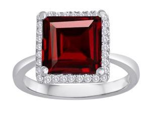 Star K Square Cut Simulated Garnet Halo Ring in Sterling Silver Size 6
