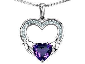 Celtic Love by Kelly Hands Holding 8mm Heart 1 inch Claddagh Pendant with Simulated Alexandrite in Sterling Silver