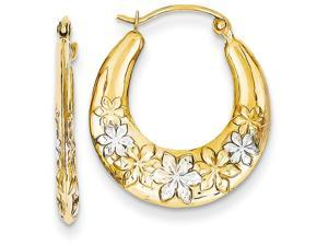 14k and Rhodium Hollow Flowers Hoop Earrings in 14 kt Yellow Gold
