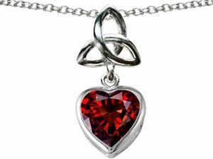 Celtic Love by Kelly Love Knot Pendant with Heart 9mm Simulated Garnet in Sterling Silver